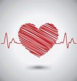 Battement de coeur avec la forme et l'électrocardiogramme de coeur Photographie stock libre de droits