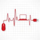 Battement de coeur avec la souris et l'ordinateur portable illustration libre de droits