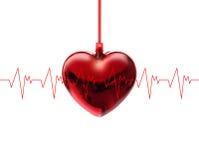 Battement de coeur d'une fréquence cardiaque sur le fond blanc Images stock