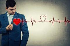 Battement de coeur de dessin d'homme Images stock