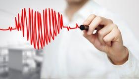 Battement de coeur de diagramme de dessin Photo libre de droits