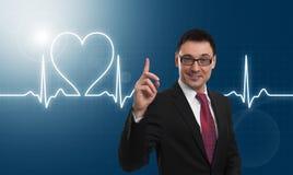 Battement de coeur et homme d'affaires bel Photo stock