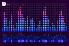 Battement de musique Allume le fond Palonnier abstrait Onde sonore Technologie audio d'égaliseur Bokeh détaillé L'espace FO Image stock
