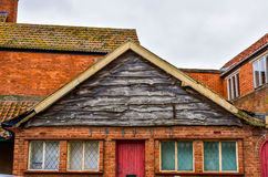 The batten facade of roof. The facade is made by old batten Stock Photo