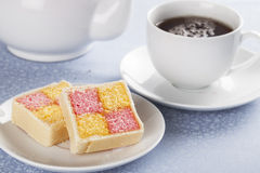 Battenberg Cake and Cuppa Royalty Free Stock Photos