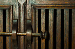 Battens wood cabinet door  and wood latch Royalty Free Stock Photography