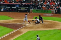 Professional baseball batter. A batter in the baseball game in 2018 between Houston Astros and Boston Red Sox, 2 teams in the top 8 standing held in Minute Maid stock photography