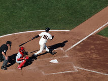 Batter Edgar Renteria swing and misses pitch Stock Images