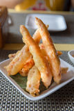 Batter fried prawns Oriental style Stock Photo
