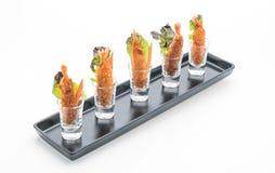 Batter-fried prawns on white Royalty Free Stock Images