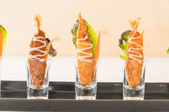 batter-fried prawns on wood Royalty Free Stock Photography