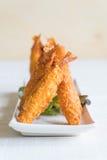 batter-fried prawns on wood Stock Photo