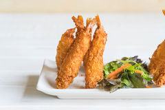 batter-fried prawns on wood Royalty Free Stock Photos