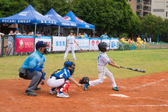 Batter missed the ball in a baseball game Royalty Free Stock Image