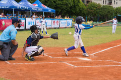 Batter missed the ball in a baseball game Stock Photo