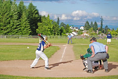Batter Ready to Swing at Baseball Royalty Free Stock Photography