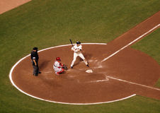 Batter stands in the batters box during at bat Stock Photos
