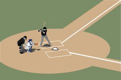 Batter Up. A baseball scene around home plate with batter catcher and umpire. Alternate file format is illustrator 8 .ai Vector Illustration