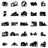 Battered and broken homes silhouettes Royalty Free Stock Photography