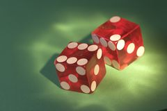 Battered casino die Royalty Free Stock Images