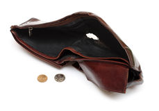 Battered empty purse with tear Stock Photos