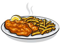 Battered fish and chips. Illustration of battered fish and chips with lemon and sauce on plate Royalty Free Stock Photos