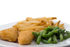 Battered Fish Meal. A plate with battered fish, french fries, and green beans, isolated against a white background Royalty Free Stock Photo