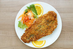 Battered fish steak with salad and vegetable royalty free stock photos