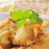 Battered and fried hake Stock Photos