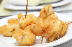 Battered and fried shrimps tapas Royalty Free Stock Photography