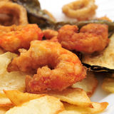 Battered and fried shrimps tapas Royalty Free Stock Images