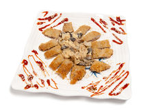 Battered meat on a plate Royalty Free Stock Photography