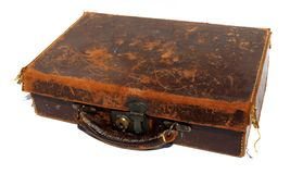 Battered old brown leather suitcase Stock Photos