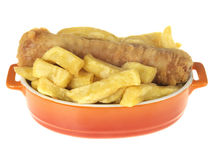 Battered Sausage and Chips Stock Image
