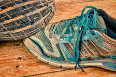 Battered sneakers still life Royalty Free Stock Photo