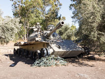 Battered Syrian tank of Soviet manufacture is after the Doomsday Yom Kippur War on the Golan Heights in Israel, near the borde Royalty Free Stock Photography