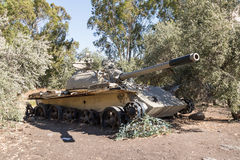 Battered Syrian tank of Soviet manufacture is after the Doomsday. A battered Syrian tank of Soviet manufacture is after the Doomsday Yom Kippur War on the Golan Stock Images