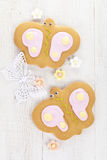 Batterfly  ginger cookies with sugar flowers Stock Photography