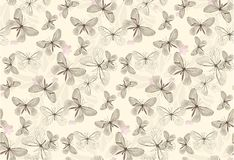 Batterfly guld mönstrar sömlöst stock illustrationer