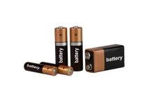 Batteri på vit bakgrund som isoleras Royaltyfri Bild