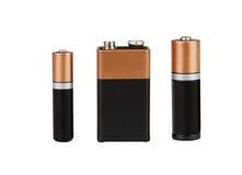 Batteri på vit bakgrund som isoleras Arkivbilder