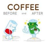Batteri vor und nach coffe Stockfotos