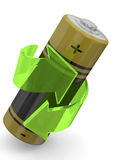 Batteria che ricicla concetto - 3D Fotografia Stock Libera da Diritti