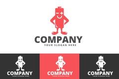Batteria creativa ed energia Logo Design Isolated su fondo bianco illustrazione di stock