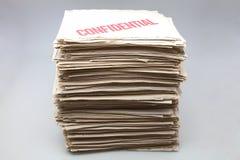 Batteria dei documenti confidenziali Fotografie Stock