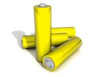 Batteria gialla di quattro aa su Backgound bianco Fotografia Stock Libera da Diritti