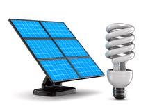 Batteria solare e lampadina su priorità bassa bianca Fotografia Stock