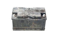 Batteria utilizzata su backgrond isolato Fotografie Stock Libere da Diritti