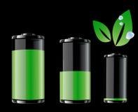 Batteria verde e foglio verde con le gocce di acqua Immagine Stock