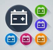 Battericirkelsymboler med skugga Fotografering för Bildbyråer
